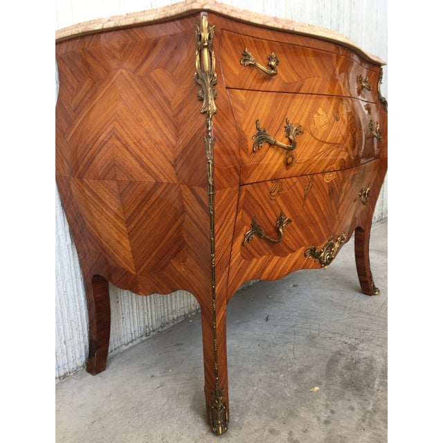 20th French Louis XV Marble-Top Bombe Chest or Commode With Three Drawers For Sale - Image 4 of 13