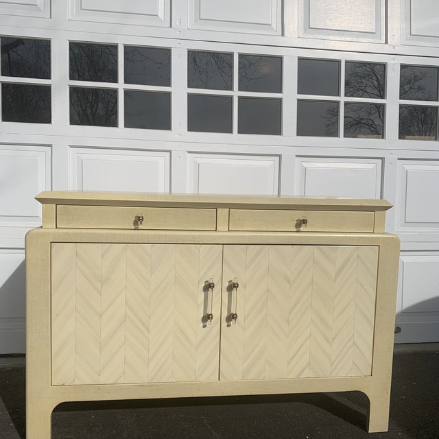 Harrison Van Horn Parchment Raffia Covered Sideboard Cabinet For Sale - Image 11 of 11