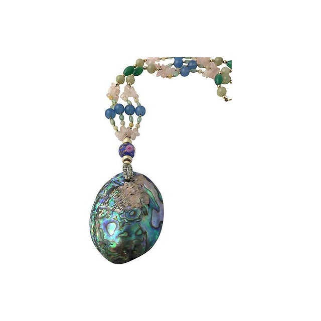 Abalone, Gemstone & Art Glass Necklace For Sale In Miami - Image 6 of 7