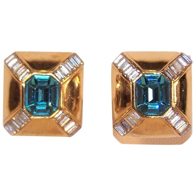 Metal Art Deco Style 1980s Ciner Aquamarine Rhinestone Gold Tone Earrings For Sale - Image 7 of 7