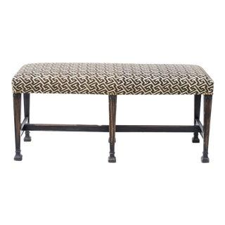 Ebonized Regency Bench in David Hicks Geometric Linen For Sale