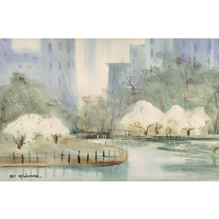 'Manhattan, Central Park in Spring' by Arthur McWhorter, New York, American Watercolor Society For Sale