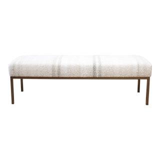 Custom Iron and Vintage Rug Upholstered Bench Ottoman For Sale