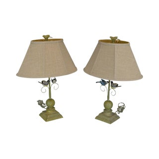 Folk Art Style Pair of Carved Bird Table Lamps For Sale