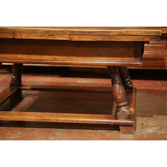 Brown 18th Century French Walnut Coffee Table with Drawers and Pull Out Leaves For Sale - Image 8 of 9