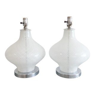 Pair of Seguso Murano Reticello White Table Lamps For Sale