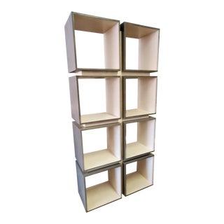 Lexington Furniture Mercury Oak & Olive Ash Burl 8 Cube Etagere/Bookcase For Sale