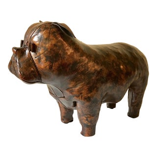 Leather Bulldog Footstool by Dimitri Omersa For Sale