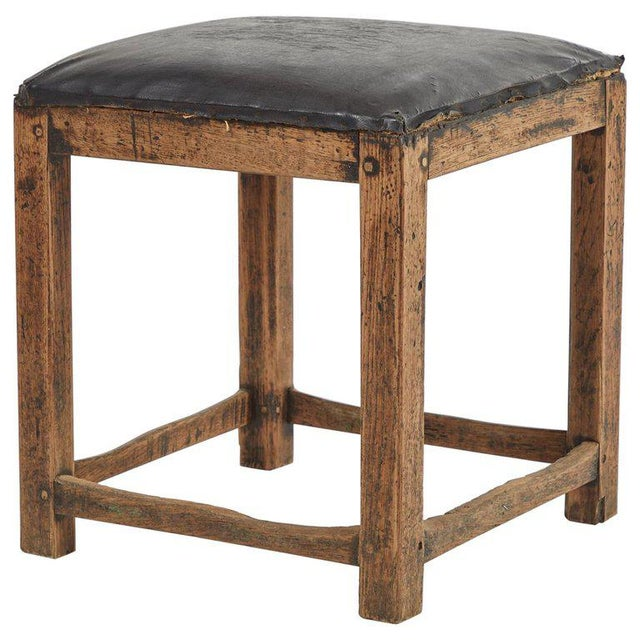 Mid 20th Century Rustic Low Stool With Black Upholstered Top For Sale - Image 5 of 5