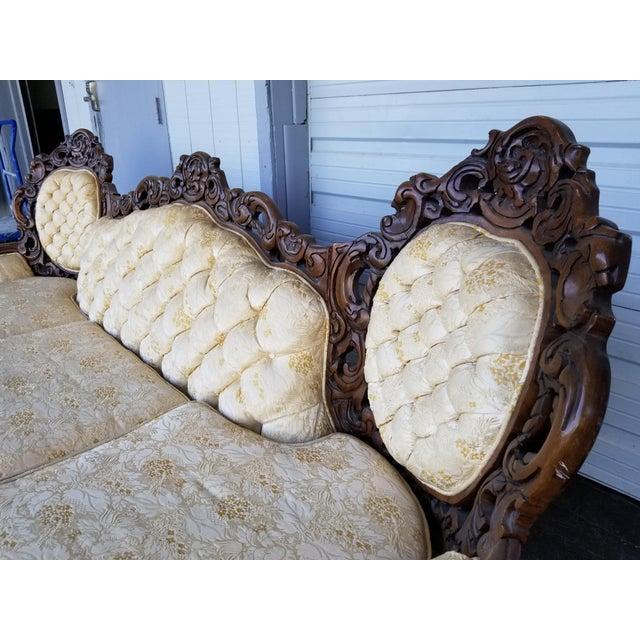 Tan Vintage Victorian Carved Wood Sofa For Sale - Image 8 of 10