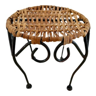 Rattan and Iron Tabletop Stand/Riser For Sale