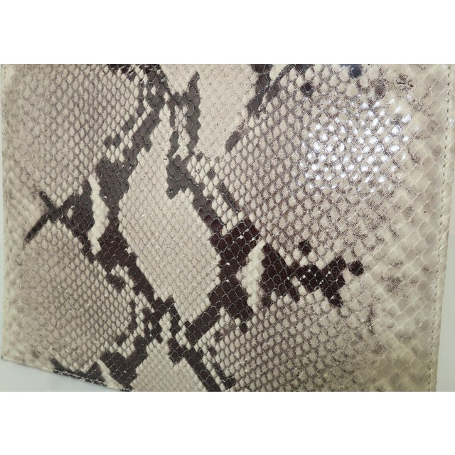 Vintage Neiman Marcus Python Printed Leather Handbag With Silver Handle For Sale - Image 10 of 12