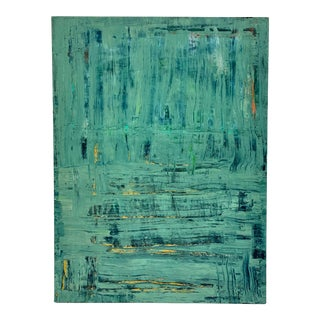 Late 20th Century Signed Original Teal Abstract by Andrew Kennedy For Sale