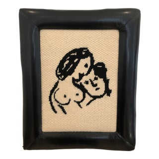Vintage Woman and Man Needlepoint Wall Hanging For Sale