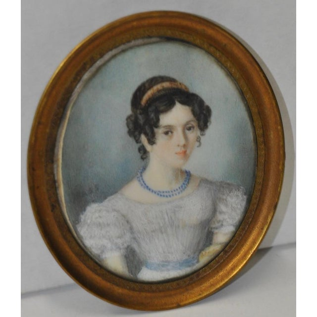 Fine Miniature Portrait of a Young Lady W/ Corkscrew Curls C.1850s For Sale - Image 4 of 4