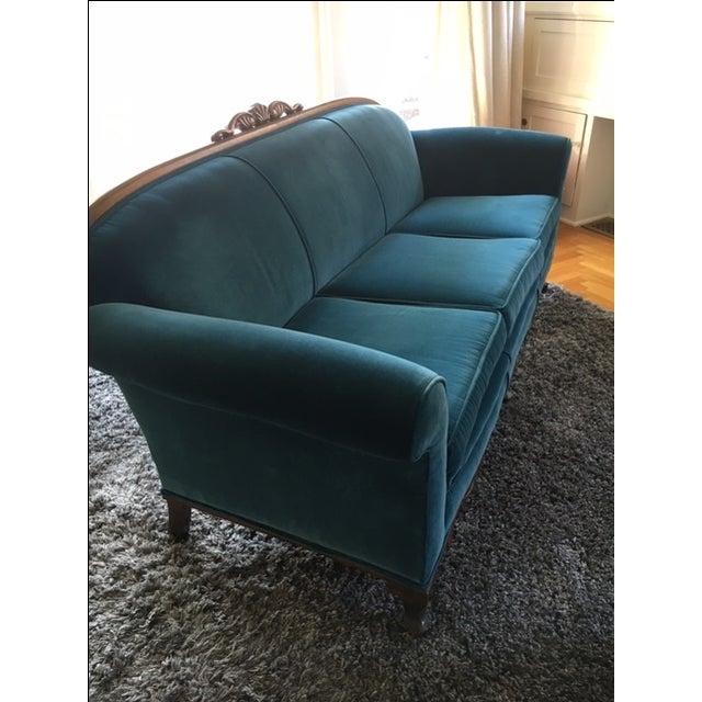 Peacock Blue Velvet Sofa For Sale In San Francisco - Image 6 of 6