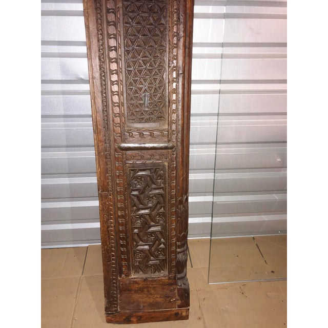 Antique Indian Carved Welcome Gate Teak Arch For Sale - Image 9 of 12