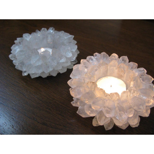Clear Quartz Candle Holders - A Pair - Image 7 of 11