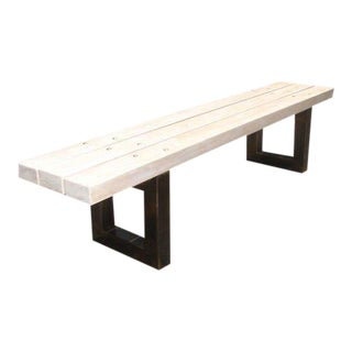 White Oak Slatted Bench with Metal Supports For Sale