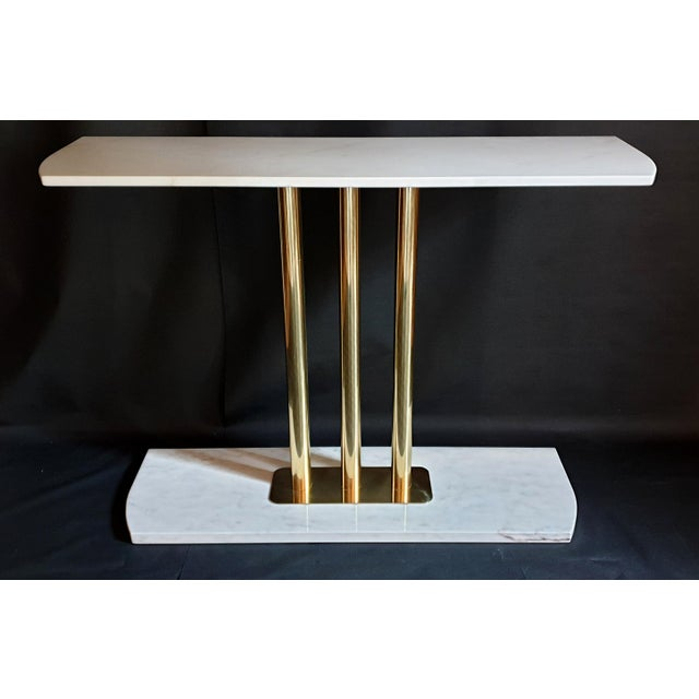 Large Mid-Century Modern White & Gray Carrara Marble & Brass Console Table, Italy For Sale - Image 11 of 13