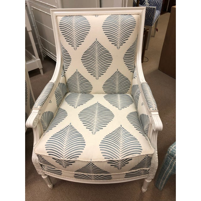 Gorgeous pair of blue and white accent chairs. Highland House.