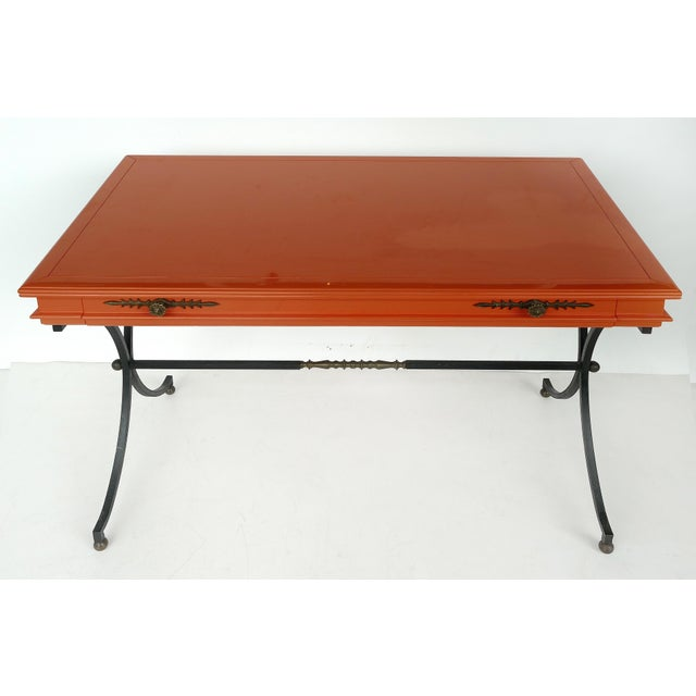 Italian Orange Lacquer Wrought Iron Desk & Chair - 2 Pieces For Sale - Image 4 of 13