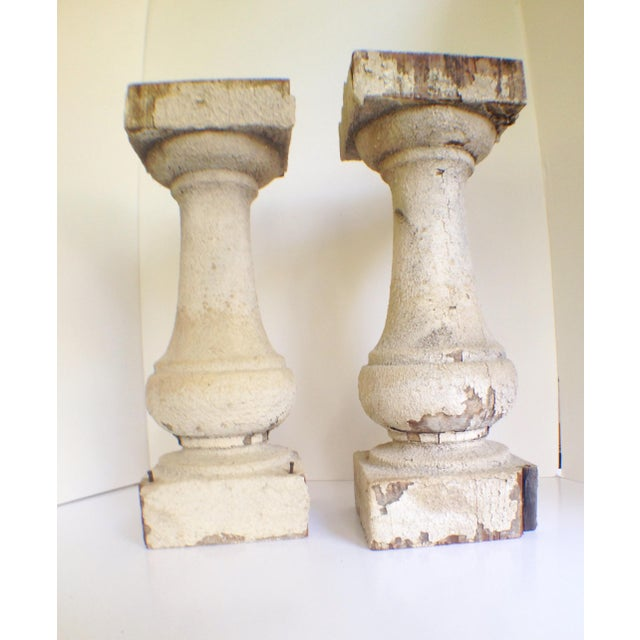 These pair of antique balusters were salvaged from a European estate, and date back to the late 19th century. The patina...
