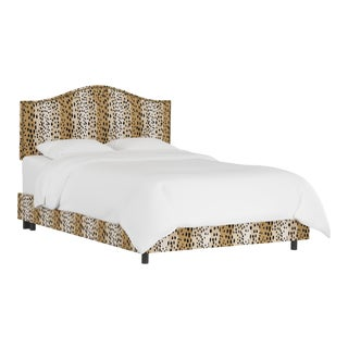 Queen Bed, Linen Leopard Caramel For Sale
