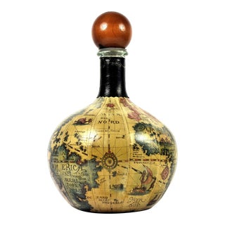 Vintage Italian Leather Wrapped Old World Map Decanter For Sale