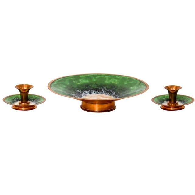 Mid 20th Century Enameled Copper Bowl & Candle Holders For Sale - Image 5 of 7