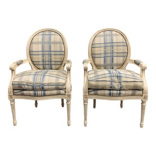 1920s Vintage French Louis XVI Carved Accent Chairs - a Pair For Sale