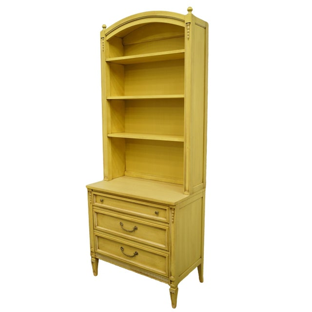 "Basic-Witz French Provincial cream / Yellow painted 32"" three drawer chest with bookcase. We specialize in high end used..."