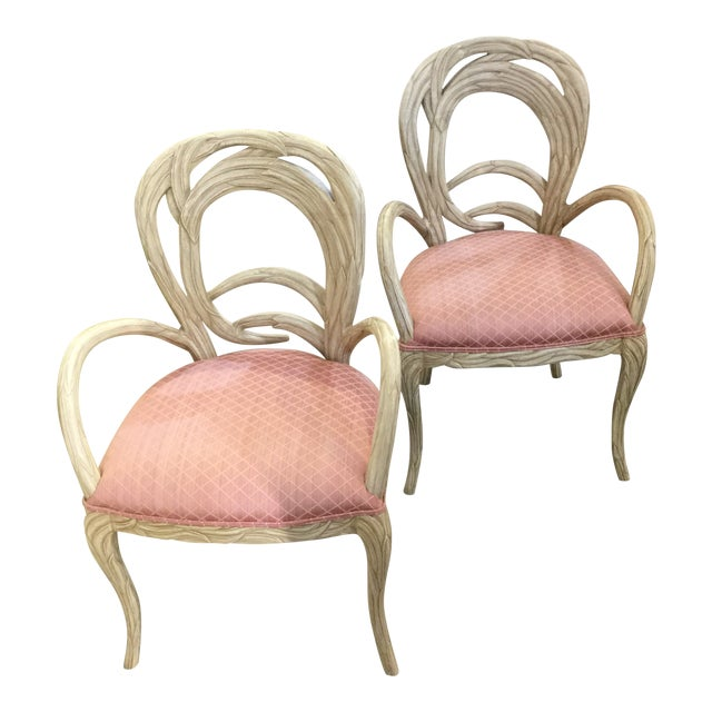 1990s Hollywood Regency Pink Upholstered Carved Occasional Chairs - a Pair For Sale