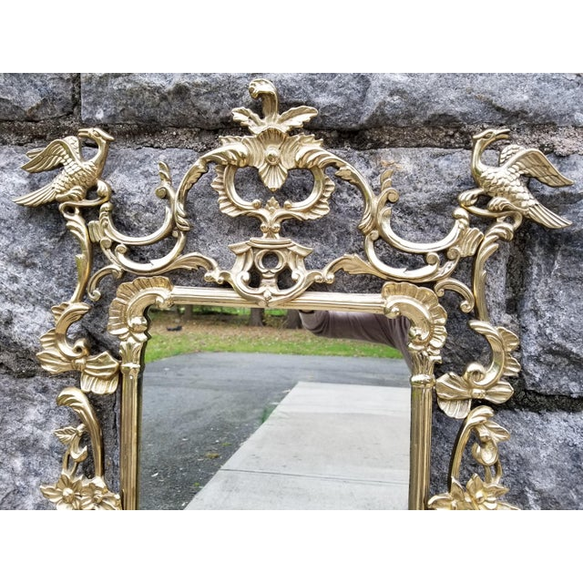 Vintage Brass Chippendale Style Ho Ho Bird Mirror For Sale - Image 4 of 13