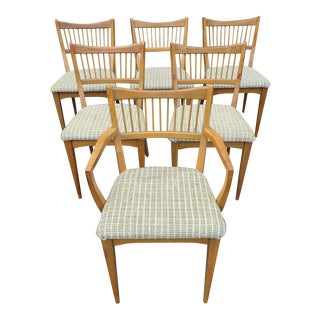 Mid Century Modern Sculptural Walnut Dining Chairs - Set of 6 For Sale