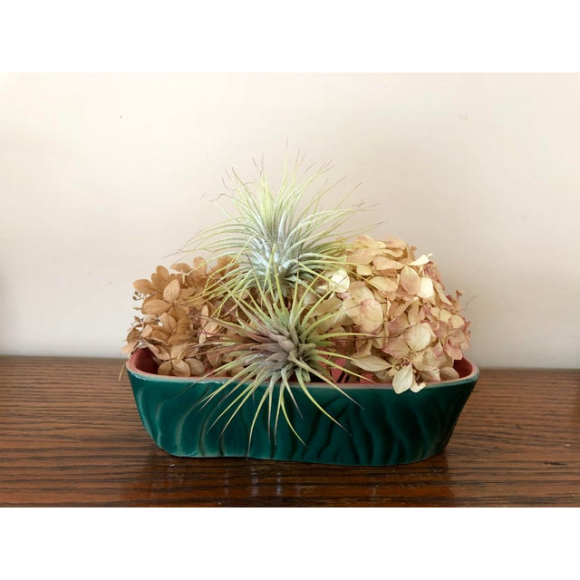 Green Vintage Mid-Century Green and Pink Pottery Planter For Sale - Image 8 of 9