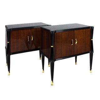 Pair of Nightstands, Style V. Dassi, Mahogany, Opaline, Italy, 1940s For Sale