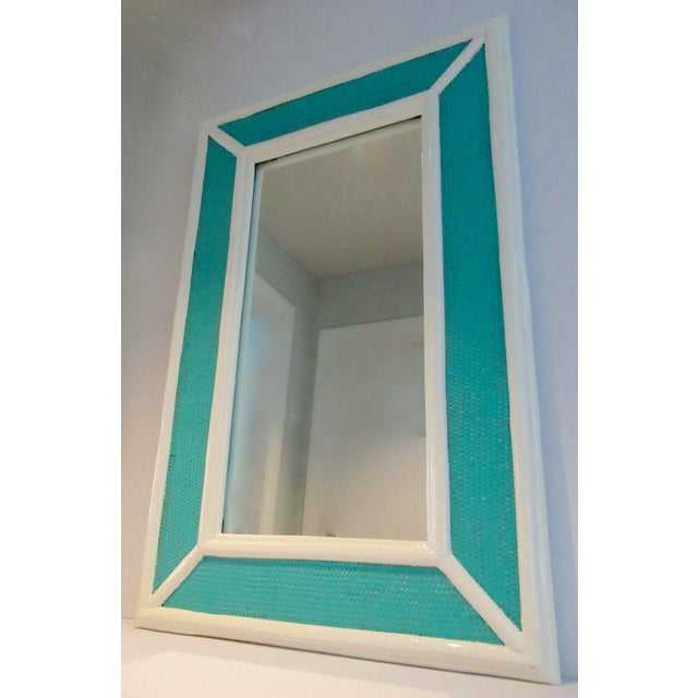 Vintage C.1960's Palm Beach Style Bamboo & Wicker 2-Tone High Gloss Lacquered Mirror For Sale - Image 4 of 12