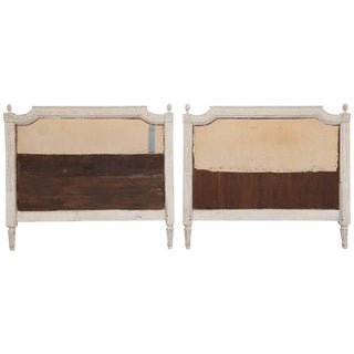 Pair of Gustavian Style Antique Swedish Carved Painted Headboards, 19th Century