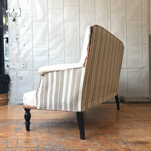 Fabric Small French Settee With High Back For Sale - Image 7 of 11