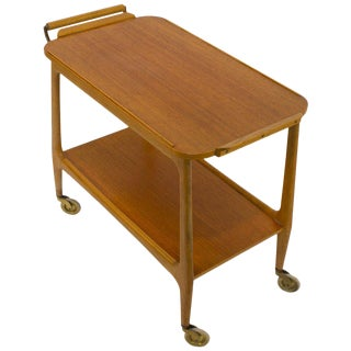 Mid-Century Modern Teak Rolling Bar Cart With Secret Compartment For Sale
