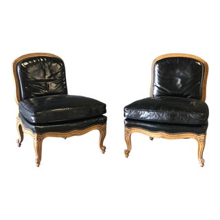 Pair of Duck Filled Black Leather Henredon Slipper/Club Chairs For Sale