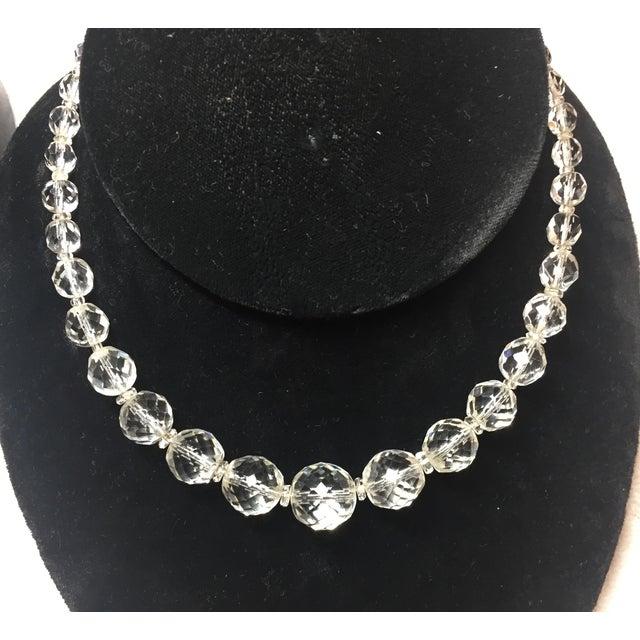 Edwardian Edwardian Cut Lead Crystal Bead Choker Necklace & Sterling Earrings,1905 For Sale - Image 3 of 13