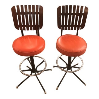 Mid-Century Wood Slat Back Orange Stools - A Pair
