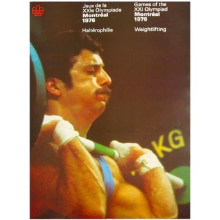 1976 Montreal Olympic Weightlifting Poster For Sale