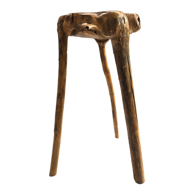 Organic Modern Tree Root Wood Pedestal Table For Sale