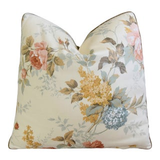 """Sanderson English Rose Floral Feather/Down Pillow 21"""" Square For Sale"""