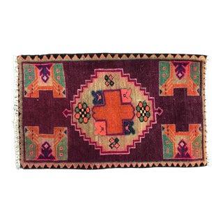 Turkish Designer Antique Handmade Small Rug For Sale