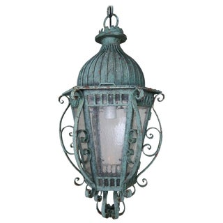 Painted French Wrought Iron Lantern With Domed Shaped Top, Circa 1930s For Sale
