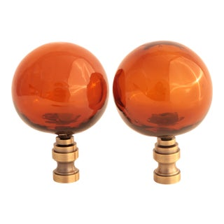 Brown Blown Glass Lamp Finials - a Pair For Sale